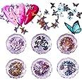 Kalolary 6 Dozen 3D Vlinder Nagel Art Glitter Pailletten, Vlinder Nagel Pailletten Acryl Paillettes, Holografische Nagel Spar