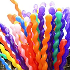Party Mixed Spiral Latex Balloons Birthday Party Decor, Red/Blue/Yellow/Pink/Green (40 Pieces)