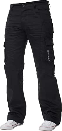 Kruze Mens Cargo Combat Work Trousers Pants Denim Jeans Big & Tall Waist Sizes
