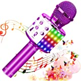 SunTop Micrófono Karaoke Bluetooth, Microfono Inalámbrico Karaoke, Portátil con Altavoz y Luces LED, Reproductor KTV doméstic
