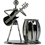 Guitar Pen Holder Creative Desktop Accessories Multipurpose Metal Pencil Holder for Gifts, Kids, Students, and Office Station