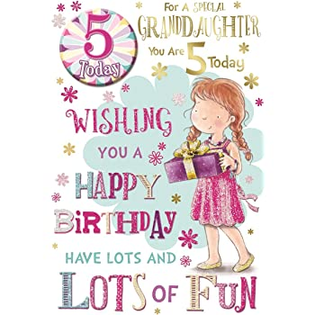 Granddaughter 5th Birthday Card Badge