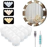 Azhien Spiegellamp met 10 Dimbare LED-lampen,Make-up Spiegellampen in Hollywood-stijl met 3 kleurmodi en 10 helderheid voor m