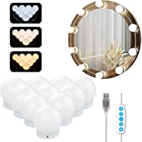 Lampe Miroir Maquillage Azhien,Lampe pour Miroir Cosmetique Hollywood avec 5 Modes de Couleur et 10 Ampoules Lumieres de…