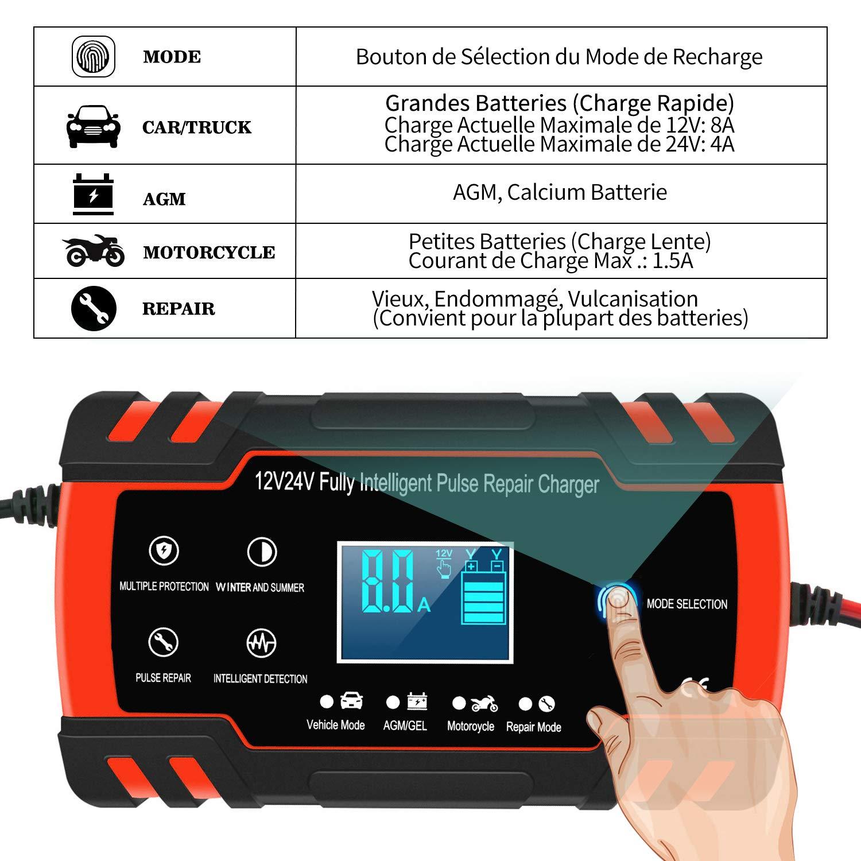 GEL WET 3 /Étapes de Chargeur Batterie et Automatique R/éparation Fonction Camion Mainteneur de Chargeur Batterie Voiture Chargeur de Batterie pour Voiture et Moto Intelligent 8A 12V//24V AGM SLA