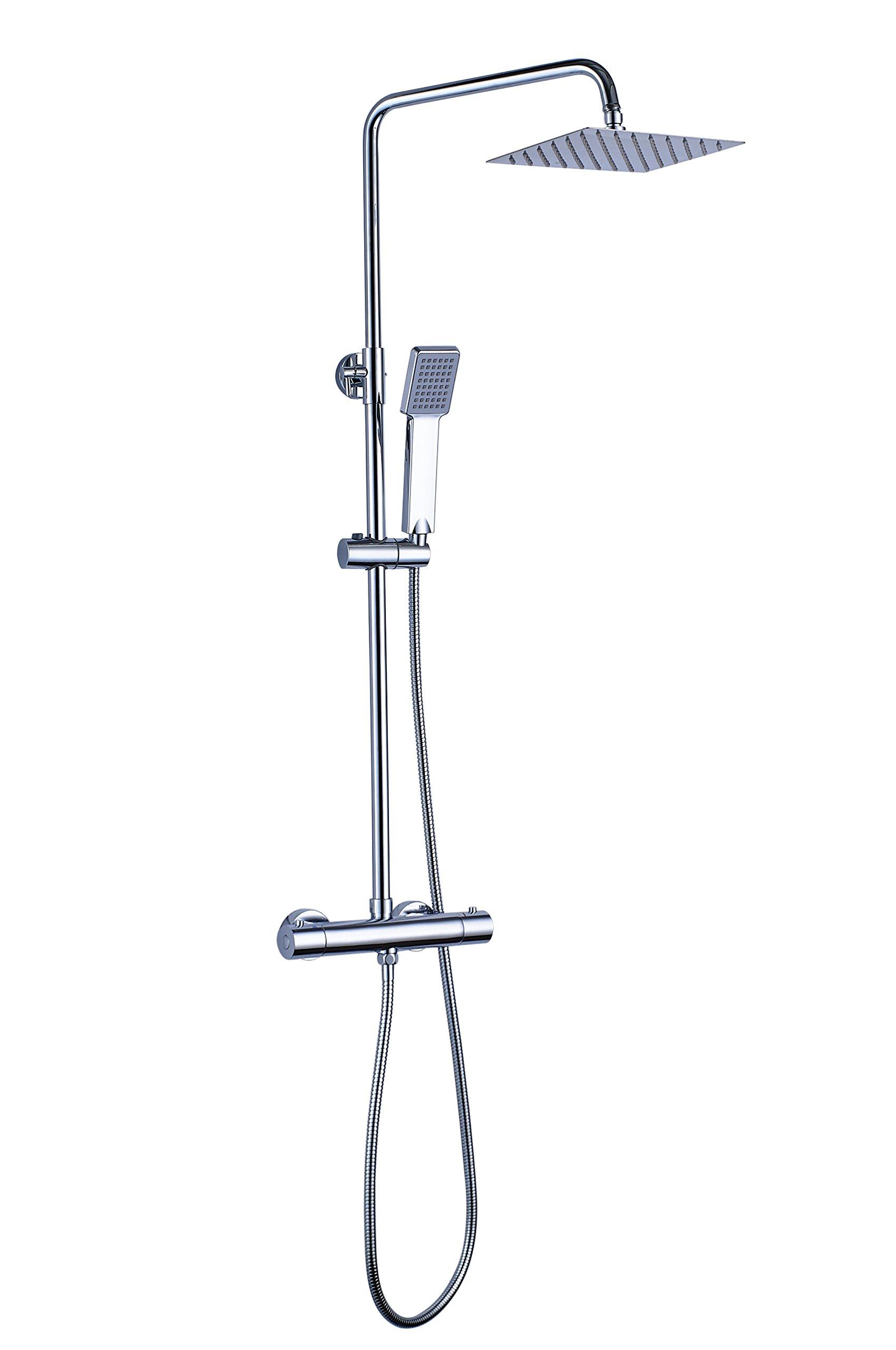 OXEN Molina Top 120- Sistema de ducha de Acero Inox. con grifería termostática