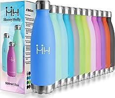 HoneyHolly Bottiglia di Acqua 350/500/750ml, in Acciaio Inox Isolamento Sottovuoto a Doppia Parete per 24 Ore Freddo &...