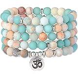 Milacolato 8mm Matte Amazonite Amethyst Rose Quartz 108 Mala Beads Collana/Bracciale per Uomo Donna Yoga Buddista Rosario Pre
