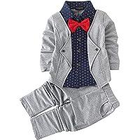 Hopscotch Boys Cotton Blazer Style Shirt and Pant Set in Grey Colour