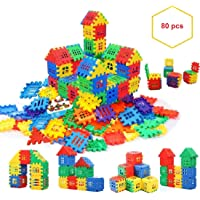 Chocozone 80pcs Jumbo Blocks House Multi Color Building Blocks with Smooth Rounded Edges - Building Blocks for Kids - Blocks Game for 3 Years Old Girls & Boys