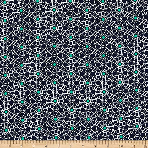 TELIO Riviera Crepe Geometric Print Navy Aqua Fabric Stoff, Textil, by The Yard -