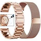 VIGOSS Kompatible Samsung Galaxy Watch 42mm Armband Metall Edelstahlarmband Männer Ersatz Armband Für Samsung Galaxy Watch 42mm SM-R810 Smartwatch (Metall + Mesh, Rosegold)
