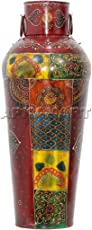 APKAMART Handcrafted Colourful Metal Chinese Side Iron Pot Flower Vase (24-inch)
