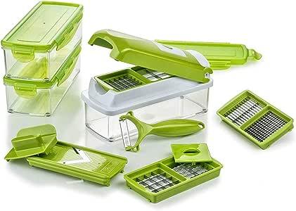 Genius Nicer Dicer Smart   14 Pieces   Food-Chopper   Multi-Cutter   Slicer   Slicing   Grating   Dicing   Fruit + Vegetable Mandolin   NEW