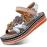 Camfosy Damer läder vandring sandaler, sommar utomhus handgjorda sandaler platt semester fritid skor justerbar kardborreband
