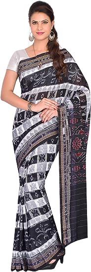 ODISHA HANDLOOM Women's Sambalpuri Ikat Cotton Saree (OHAUG2019-71, Black)