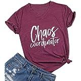 """تي شيرت حريمي مطبوع عليه عبارة """"Chaos Coordinator""""، قميص علوي برقبة على شكل حرف V"""