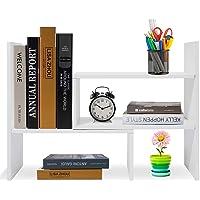 Hossejoy Bibliothèque réglable Étagère à livres Support pour étagère extensible Étagère en bois pour bureau, salon…