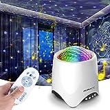 Luces de Proyector de Estrellas, Proyector Luces 14 Modos Proyector LED Color Reproductor de Música, con Bluetooth/Temporizad