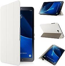 iHarbort Hülle für Samsung Galaxy Tab A 10,1 (SM-T580/T585) Samsung Galaxy Tab A 10.1 hülle Etui Schutzhülle Case Cover Holder Stand mit Smart Auto Wake/Sleep-Funktion (Weiß)