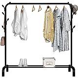 UDEAR Porte-vêtements autoportant Cintre Multifonctionnel Pratique unipolaire Chambre à Coucher, 8 Crochets,Noir