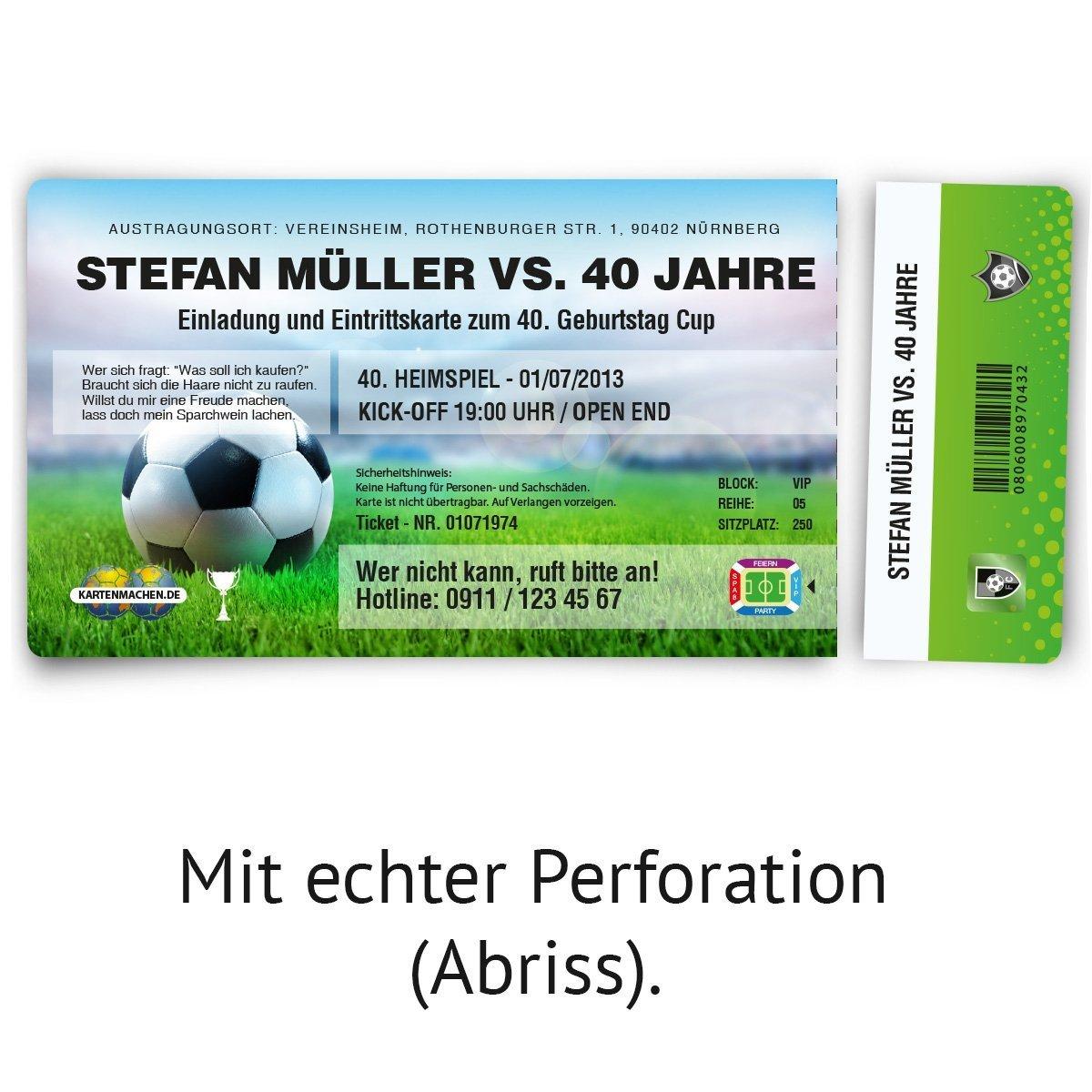 Einladungskarten zum Geburtstag (47 Stück) als Fussballticket ... - Einladungskarten Geburtstag Eintrittskarte