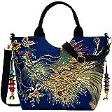 Abuyall Handtasche mit Stickerei, ethnische Pailletten, Pfauen-Schultertasche, handgefertigt, aus Segeltuch