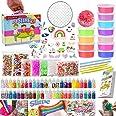 DIY Slime Kit Haz tu Propia Baba con 12 Colores de Baba de Cristal, Purpurina, Colgantes, rodajas de Fruta, Manualidades para
