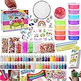 essenson DIY Slime kit Schleim Selber Machen mit 12 Farben Crystal Slime, Glitter, Charms, Fruit Slices, Kunsthandwerk für Ki