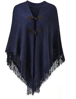 9f96ced4601fa3 Ferand Poncho-Schal in lässiger Passform mit stylischen Hornknöpfen,  V-Ausschnitt und V