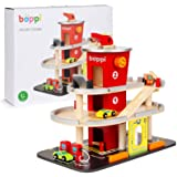 boppi Wooden Toy Garage Carpark 36cm High for Kids with Working 3 Floor Lift Elevator Carwash Petrol Pump 3 Play Car Vehicles
