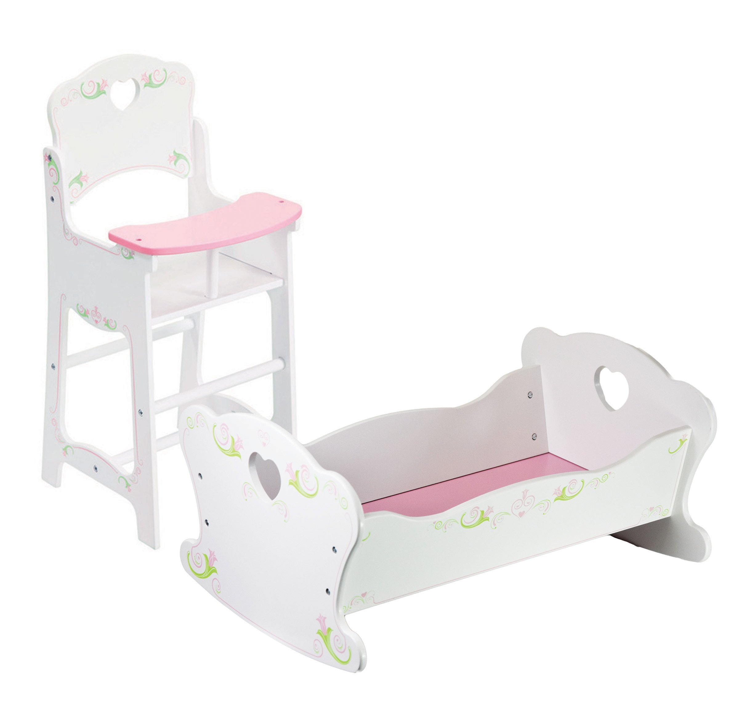 Dolls Wooden High Chair and Rocking Cradle Cot Bed Doll Furniture Set The Magic Toy Shop What a spectacular deal! Our Doll Furniture Set gives young children a high chair and a cradle for their favorite dolls. Both pieces are built to last and can be assembled easily with the enclosed instructions. Comfortably accommodate 48 cm dolls. Fine attention to details with heart-shaped cutouts and floral motif. Made of durable mdf wood with non-toxic paints, sanded smooth with no sharp edges. 1