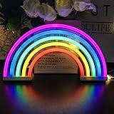 Panneau lumineux néon arc-en-ciel pour décoration murale de chambre d'enfant, chambre à coucher, cadeau d'anniversaire, fête