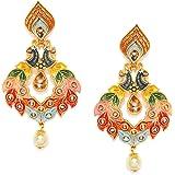 Zaveri Pearls Multicolor Peacock Design Dangle Earring For Women-ZPFK8771
