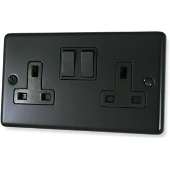 Matt Black Double Socket (Black Switch) - CFB10B