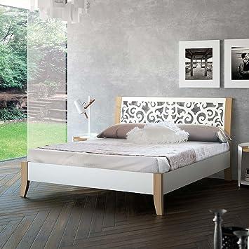 Metallbett 180x200 weiß  Metallbett in Weiß mit Eiche Bianco Breite 186 cm Liegefläche ...