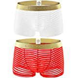 2 Pack Men Boxer Briefs Shorts Soft Underpants See-Through Transparent Sexy Underwear Trunk for Man