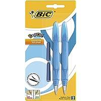 BIC EasyClic Stylos-Plume Rechargeables - Violet, Bleu ou Turquoise (sans choix possible), Blister de 2 + 2 Peties…