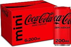 Coca-Cola Zero Azúcar - Refresco de cola sin azúcar, sin calorías - Pack 6 minilatas 200 ml