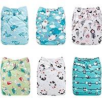 Alva Baby - Pannolini lavabili e riutilizzabili in tessuto, 6 pz, 12 inserti 6DM33-IT