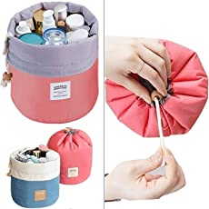 ShoppoStreet Bucket Barrel Shaped Cosmetic Makeup Bag Travel Case Pouch