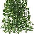 Mumoo Bear Artificial Ivy Leaf Plants Vine, 12 Strands 87 Feet Artificial Garlands Fake Foliage Flowers Hanging Vine for Home