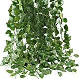 Mumoo Bear Artificial Ivy Leaf Plants Vine, 12 Strands 87 Feet Artificial Garlands Fake Foliage Flowers Hanging Vine for Home