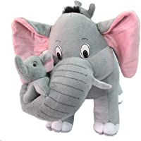DEALS INDIA Mother Elephant with 2 Babies Soft Toy- 32 cm, Grey