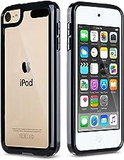 ULAK iPod Touch 5/6 Hülle, iPod Touch 6g Weiche Silikon TPU Schutzhülle Stoßdämpfung Bumper und Anti-Kratz PC Zurück Case Cover für iPod Touch 5/6 Generation (Schwarz)