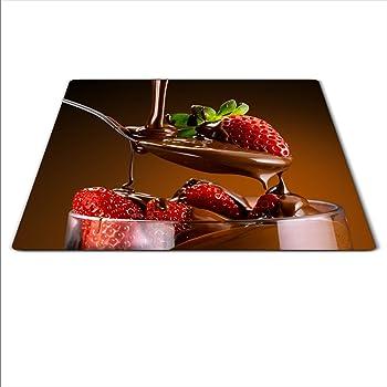 Herdabdeckplatte 59x52 für Ceran//Induktion Erdbeere motiv Herdschutz aus Glas