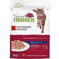 Natural Trainer - Cibo Umido per Gatti Adulti con Manzo e Fibra di Pisello - 12 Buste x 85gr - 1020 gr