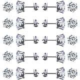 JZZJ 3 mm piccolo da donna in acciaio INOX rotondo chiaro zirconi orecchini (10 coppie)