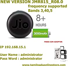 Jio-Pcs System USB Wired and Wifi Option LTE and VOLTE Supported 4G Hotspot Mini Size Jio Fi 6 with 3000 mAh Battery for All Wifi Enabled Devices