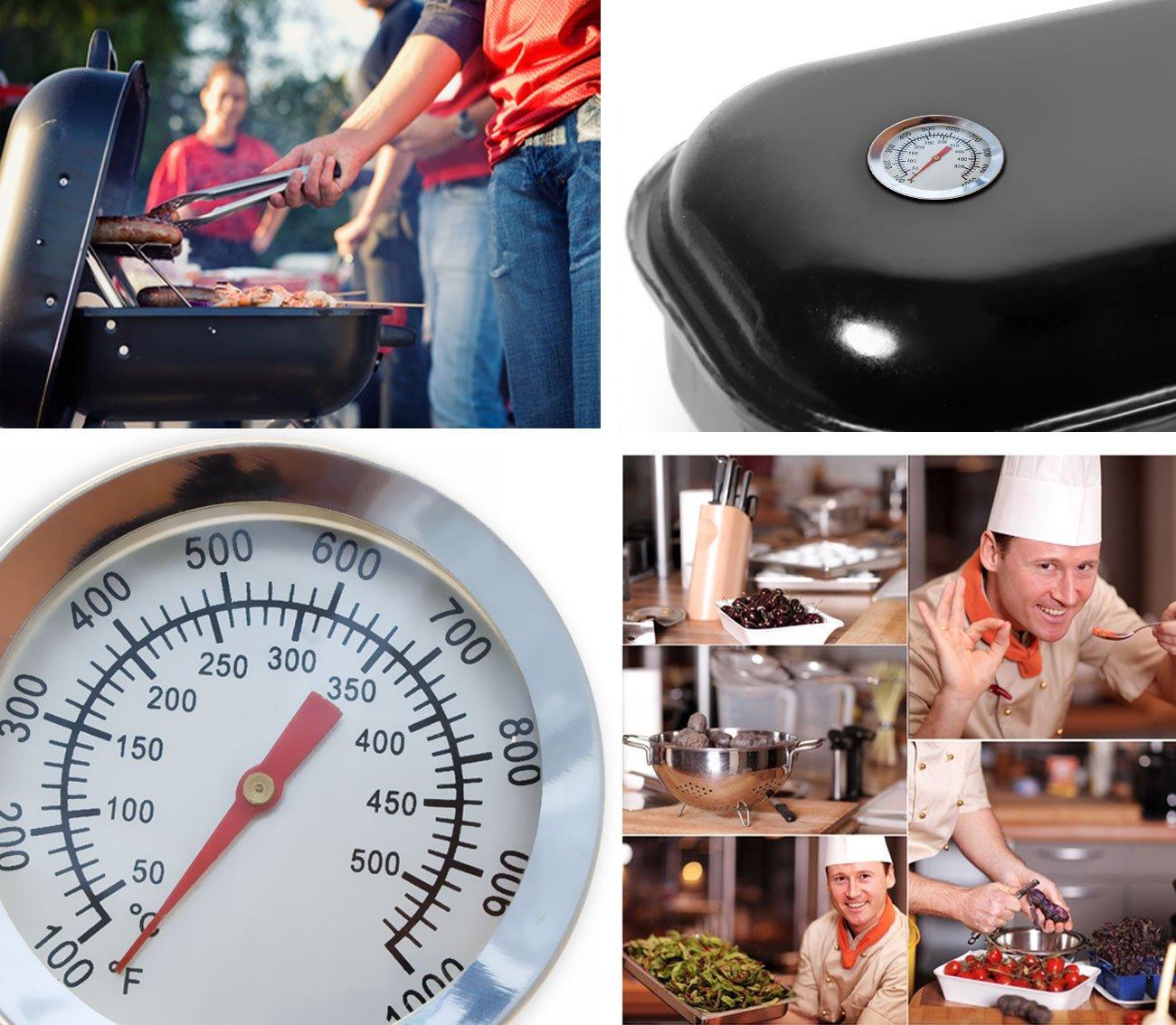HOMETOOLS.EU® Thermomètre de cuisson analogique – Résistant à la température – Pour barbecue, grill, casseroles, faitouts, fumoir – De 10°C à 500°C